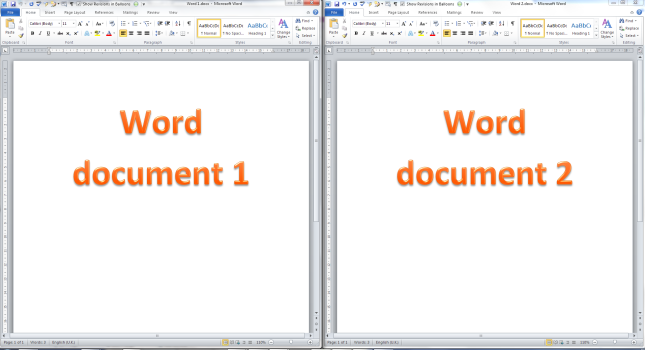 Two Word documents showing side by side