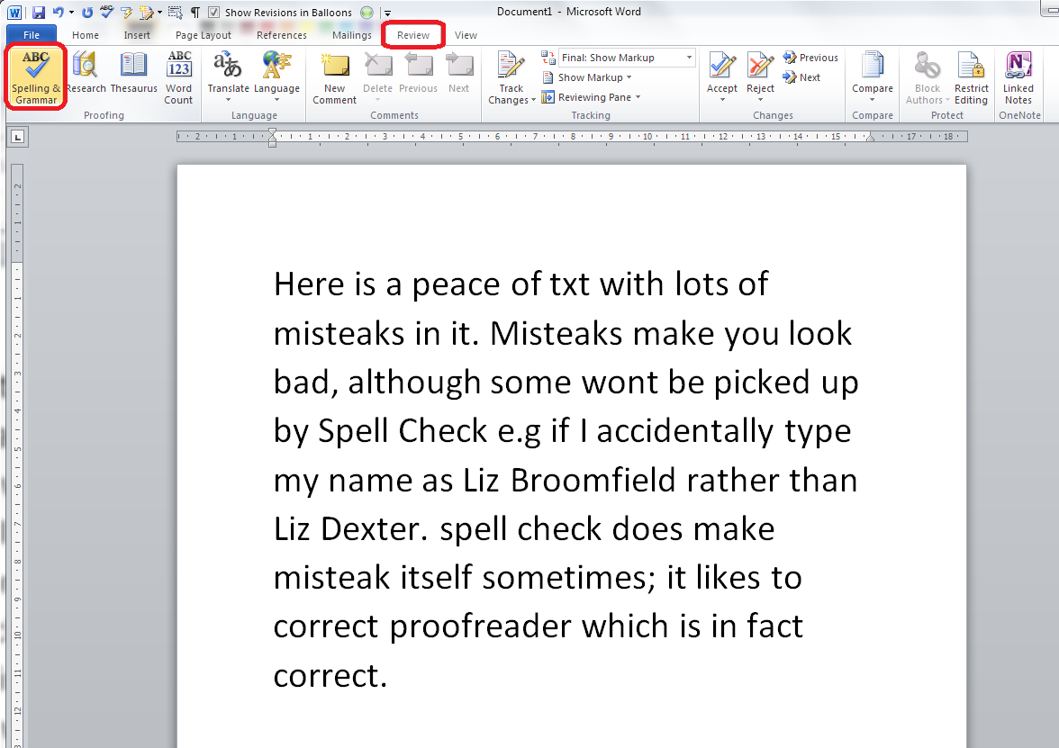 How To Use Spell Check In Word 2007 And Word 2010