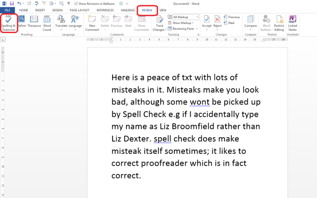 Word 2013 spell check
