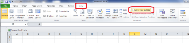 view side by side excel
