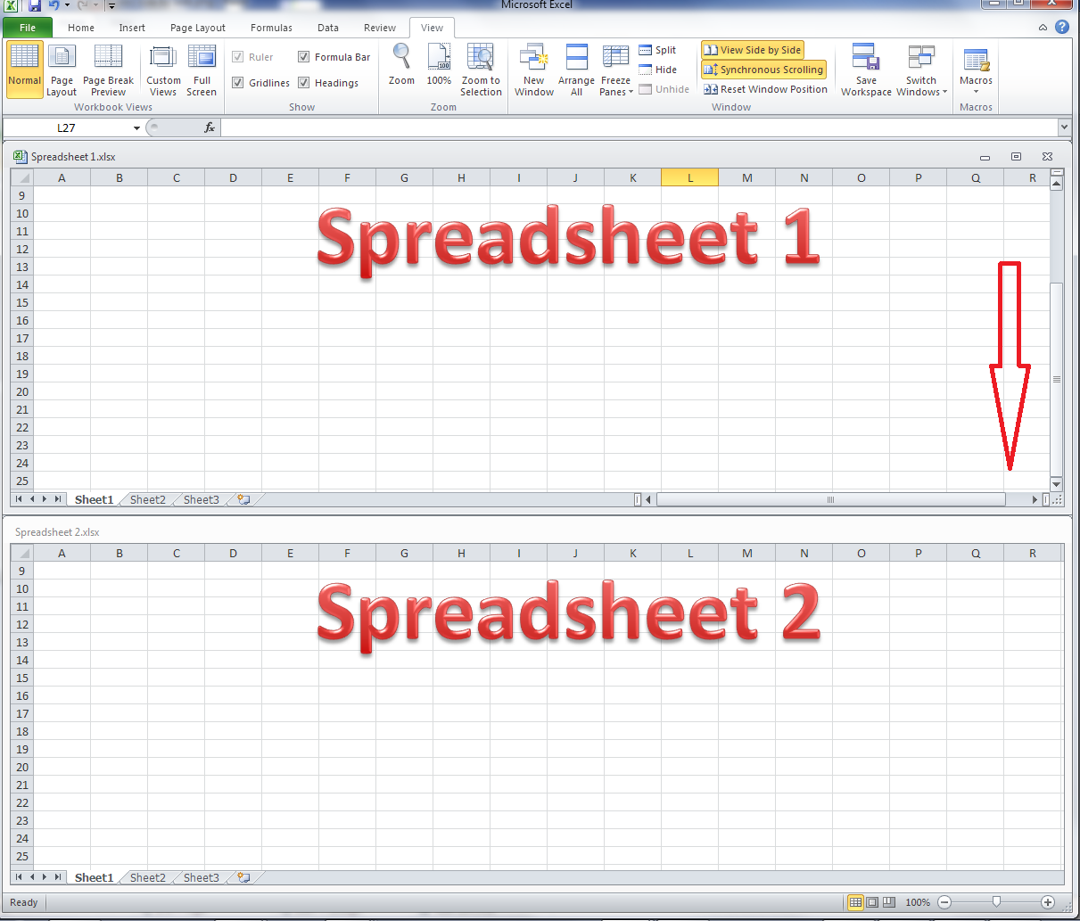 worksheet Excel Worksheet View how do i view two excel spreadsheets at a time libroediting side by synchronous scrolling
