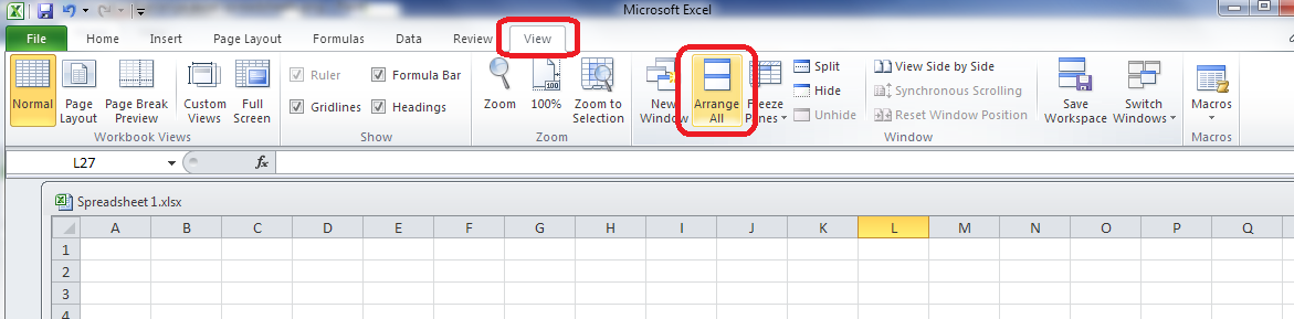 how to look at two different excel windows