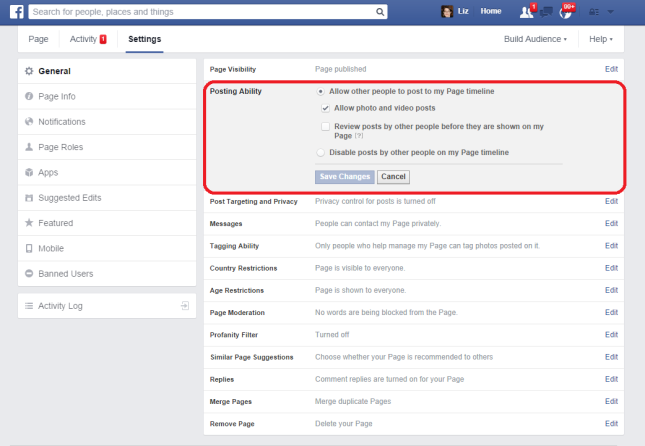 Edit posting ability Facebook