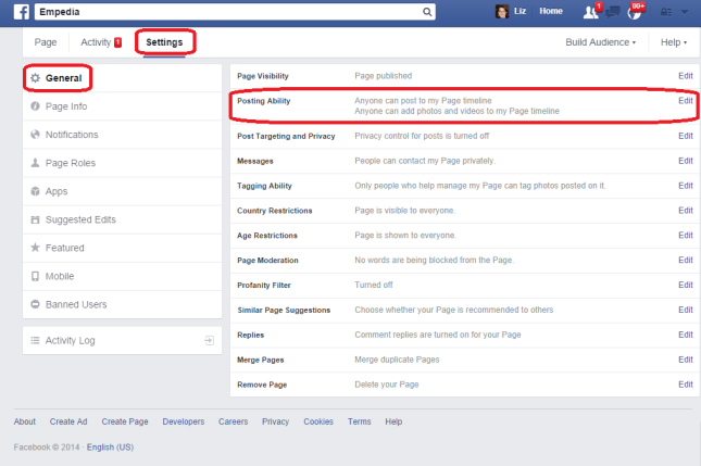 Facebook settings allowing posts