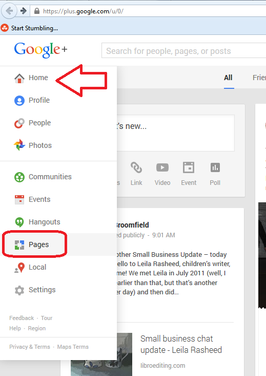 Pages on Google+