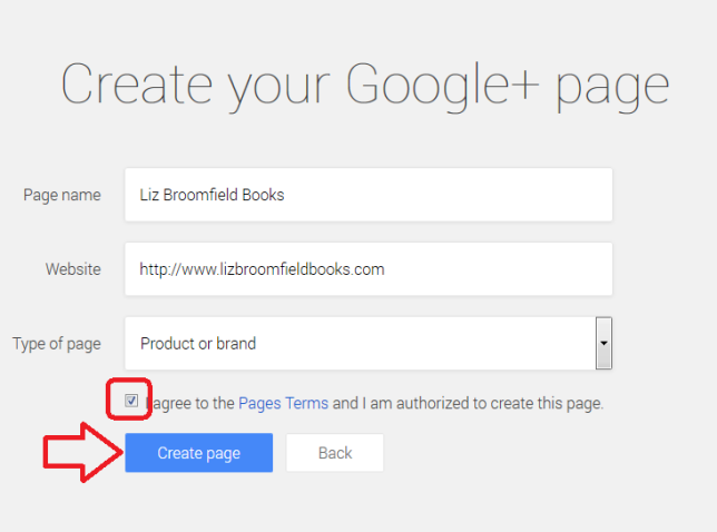 Google+ page setting up brand page