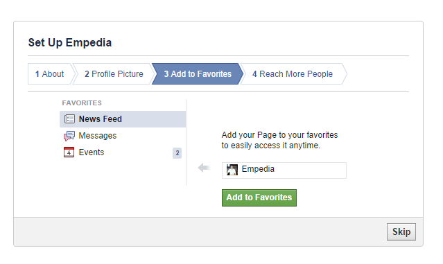 Facebook page add to favourites