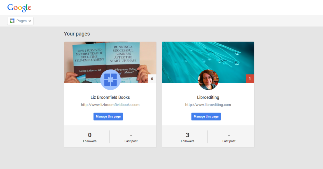 Google+ page edit pages