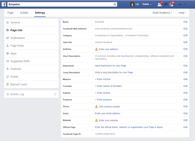 Facebook Page Info settings