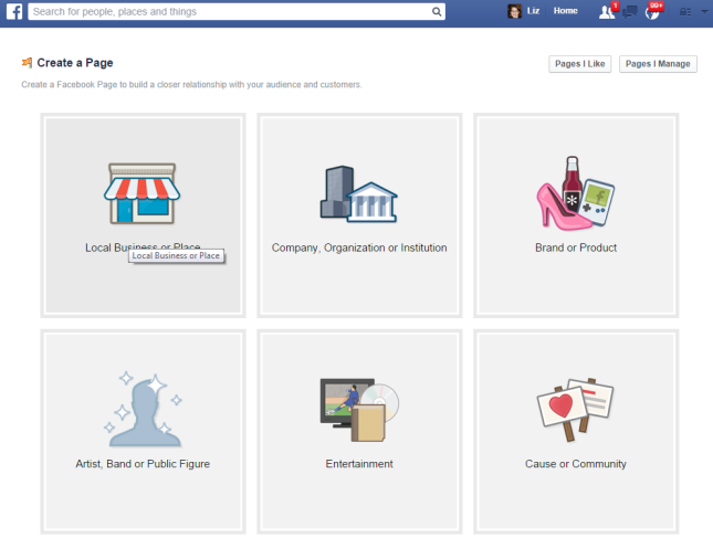 Facebook type of page