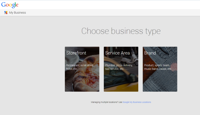 Google+ pages business type