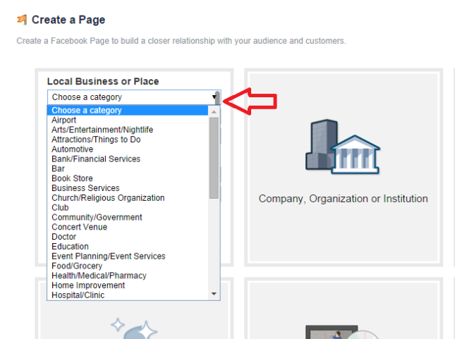 Facebook create local business page