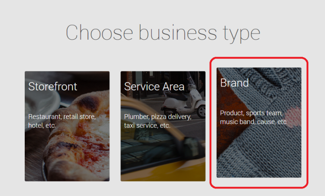 Google+ pages business type brand