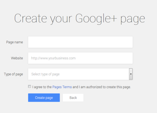 Google+ pages add brand details