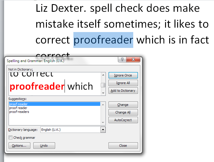 Spell check getting it wrong