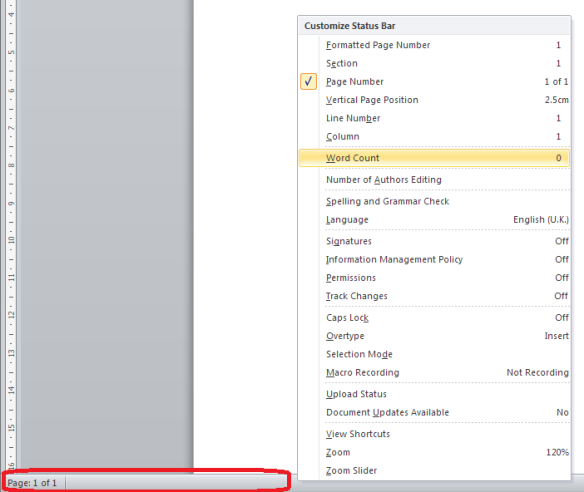 How do I hide the toolbars and taskbars in Word 2007, 2010 and 2013
