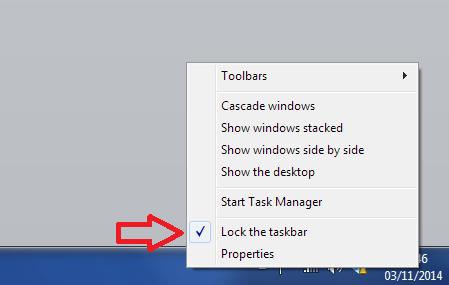 unlock task bar windows