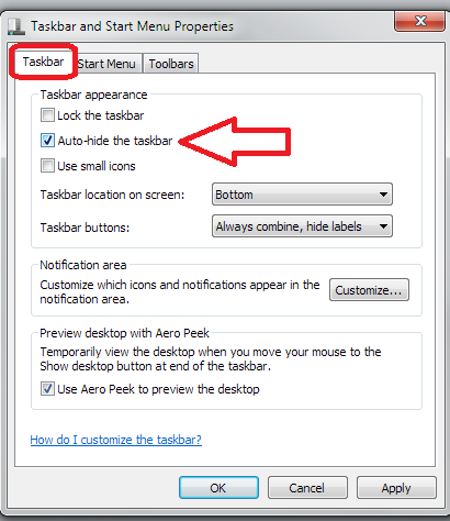how to get my taskbar back in word