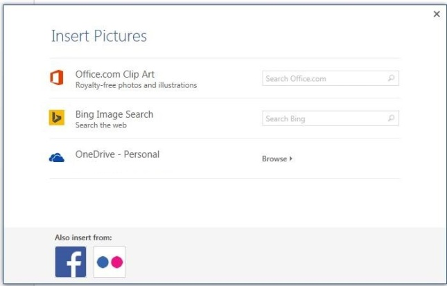 Word 2013 image search options if logged in