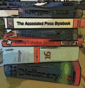 Pile of style guides and dictionaries