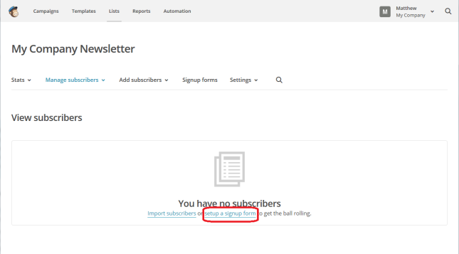MailChimp sign-up form