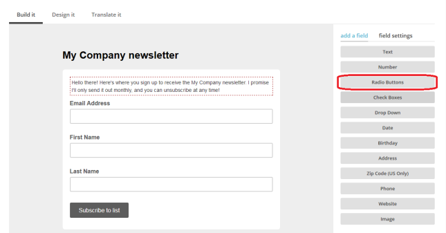 MailChimp add text to sign-up form