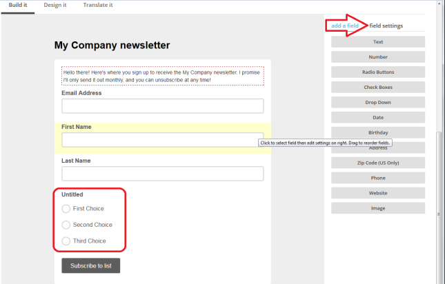 MailChimp sign up form add fields