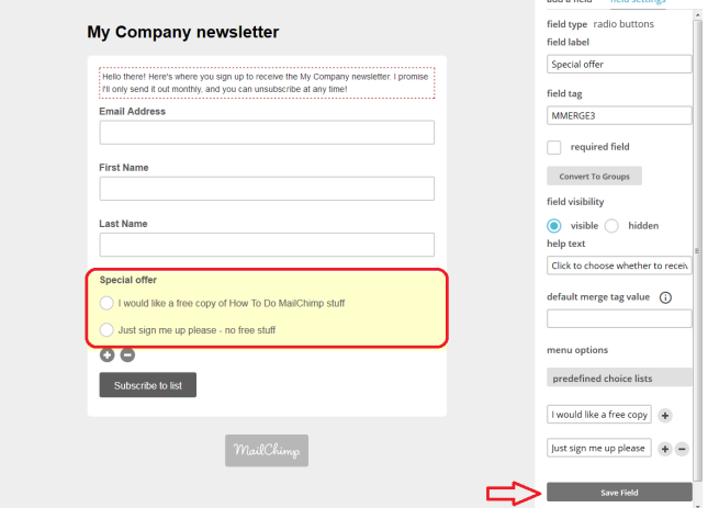 MailChimp add fields to sign-up form