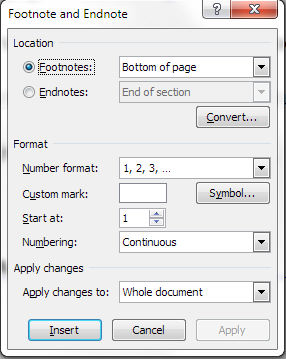 footnote menu dialogue box word