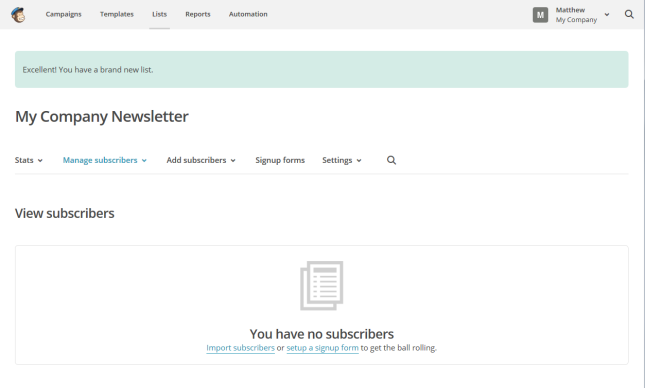 MailChimp list subscribers