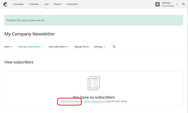 MailChimp import subscribers