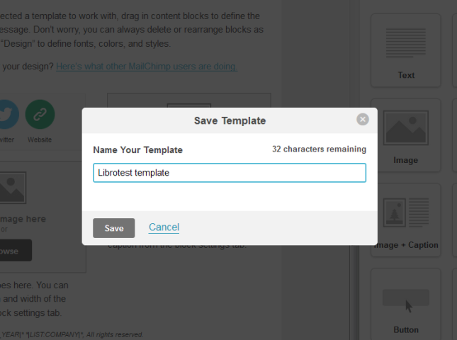 MailChimp template save