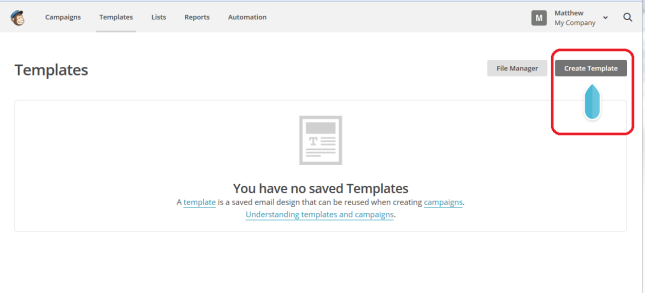 MailChimp create template
