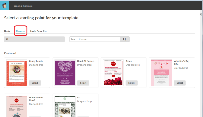 MailChimp choose template