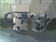 Small business chat interview two mugs