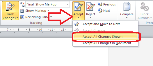 Word 2010 accept changes showing