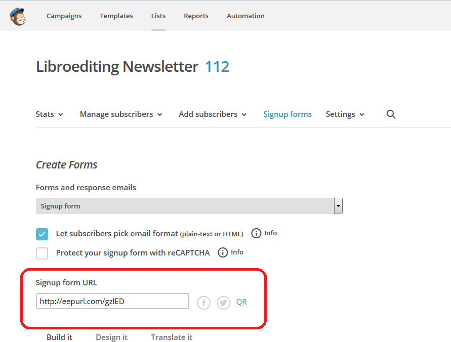 MailChimp 5 – linking to your sign-up form on Facebook and your ...