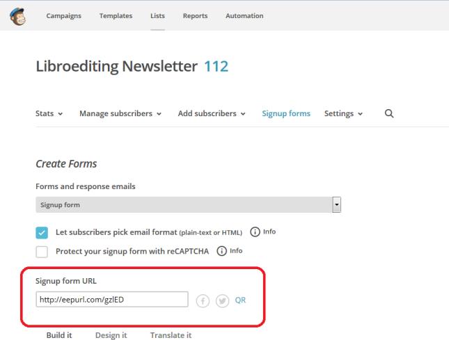 Mailchimp signup URL