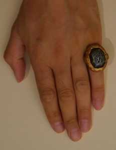 Tone Hitchcock's hand with ring