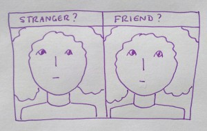Cartoon expressing the experience of prosopagnosia