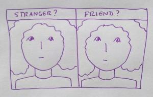 Cartoon expressing the experience of prosopagnosia