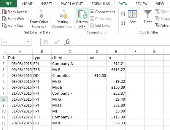 1 spreadsheet
