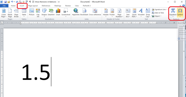 How do I add a dot or line above a number in Word to indicate a