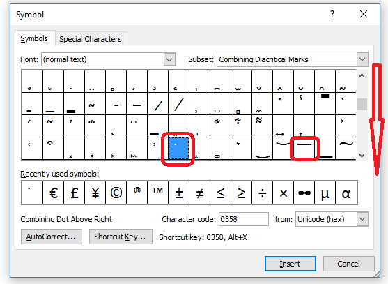 5 combining diacritics