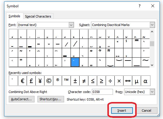 6 combining diacritics