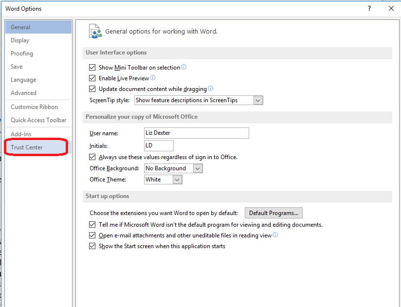 accessing the trust center in word