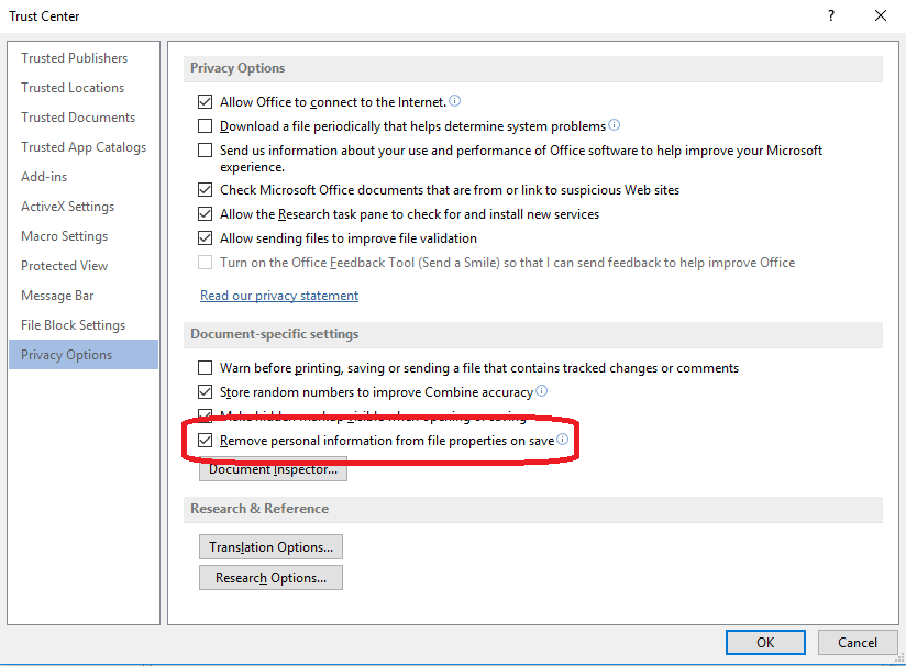 remove personal identification on save in word