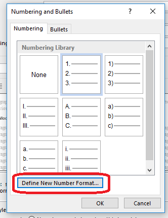 Word 2013 2016 define new numbering format