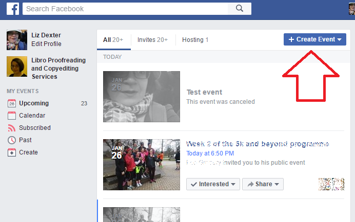 How do I create a Facebook event LibroEditing proofreading