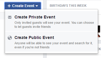 create private or public facebook event